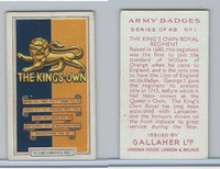 G12-72 Gallaher, Army Badges, 1939, #1 Kings own Royal Regiment