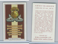 G12-72 Gallaher, Army Badges, 1939, #13 Lancashire Fusiliers