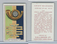 G12-72 Gallaher, Army Badges, 1939, #21 Kings Own Yorkshire Light Infantry