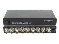 1x8 (1:8) 8-Way Composite BNC Video Splitter Distribution Amplifier SB-3706BNC