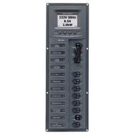 BEP AC Circuit Breaker Panel w\/Digital Meters, 8SP 2DP AC230V ACSM Stainless Steel Vertical