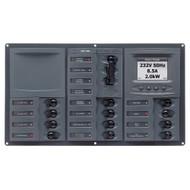 BEP AC Circuit Breaker Panel w\/Digital Meters, 12SP 2DP AC230V ACSM Stainless Steel Horizontal
