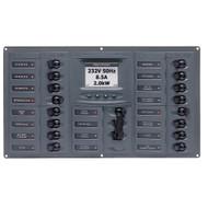 BEP AC Circuit Breaker Panel w\/Digital Meters, 16SP 2DP AC120V ACSM Stainless Steel Horizontal