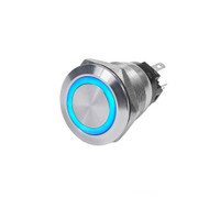 Blue Sea 4161 SS Push Button Switch - Off-(On) - Blue - 10A