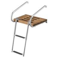 Whitecap Teak Swim Platform w\/2-Step Telescoping Ladder f\/Boats w\/Inboard\/Outboard Motors