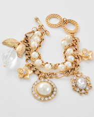Golden Charm Bracelet with Pearl and Diamante Features
