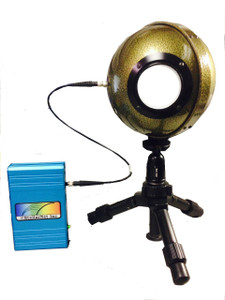 "LED Measurement System consists of a BLUE-Wave spectrometer, 6"" integrating sphere, and an optical fiber."