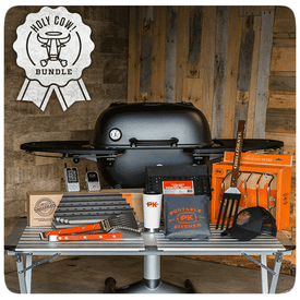 PK360 HOLY COW! gift bundle from PK includes the award winning PK360 Grill & Smoker plus a standard PK360 cover, custom fit GrillGrates(tm), our best selling heavy duty charcoal basket, our stainless steel Tong and Spatula, the stainless steel rib rack, the Maverick ET-733 wireless remote thermometer, our insulated mug and a limited edition Fire & Smoke trucker hat.