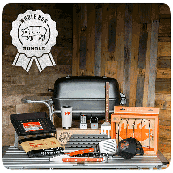 The WHOLE HOG gift bundle from PK includes the award winning Original PK Grill & Smoker plus a standard cover, custom fit GrillGrates(tm), our best selling heavy duty charcoal basket, our stainless steel Tong and Spatula, the stainless steel rib rack, the Maverick ET-733 wireless remote thermometer, our insulated mug and a limited edition Fire & Smoke trucker hat.