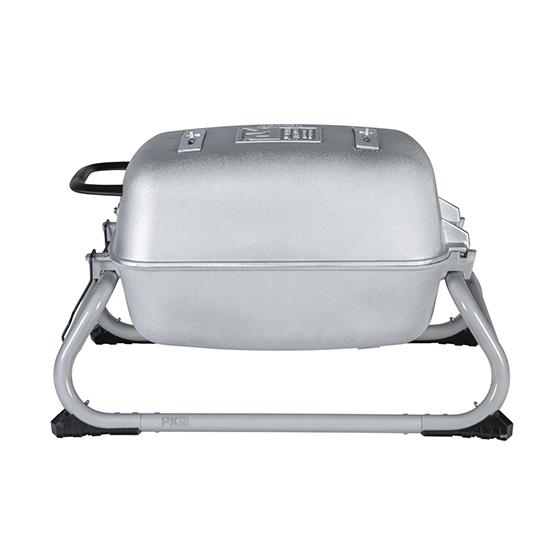 The Original PKGO Tailgate Grill and Smoker in Classic Silver.