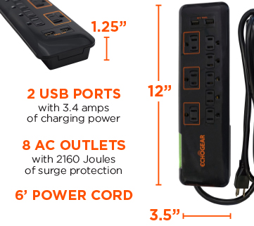 8 outlet surge protector with USB ports