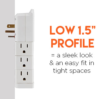 the low profile helps you fit this surge protector in tight places