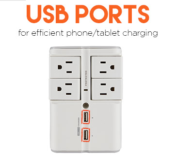 2 USB outlets efficently charge your phone or tablet