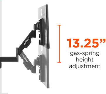 gas spring height adjustable computer monitor mount