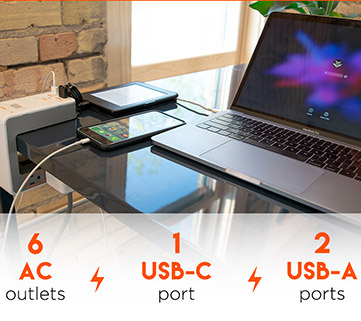 Power up to 9 devices with the AC & USB ports