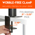 Triple desk mount for monitors clamps for a wobble-free experience.