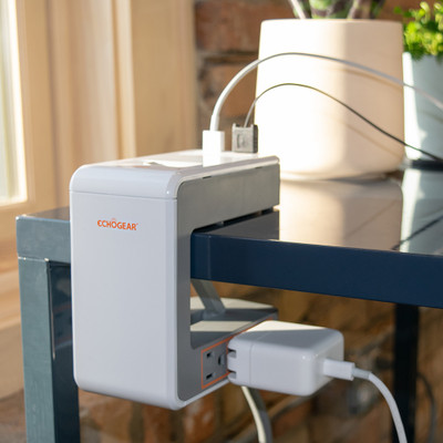 Desk clamp power station to charge and power devices