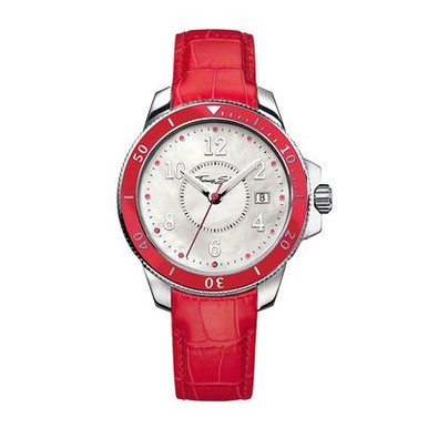 Case/bezel: ø 38 mm, stainless steel, with rotatable bezel and red enamel inlay  Dial/hands: white mother-of-pearl two-layer dial, luminous hands  Functions: hour, minute, second, date display  Bracelet/closing: red alligator-print leather strap, stainless steel butterfly clasp water  Resistance: 10 ATM  Glass: hardened, non-reflecting mineral glass with sapphire coating  Movement: quartz/MIYOTA 2117 special  Features: Sporty