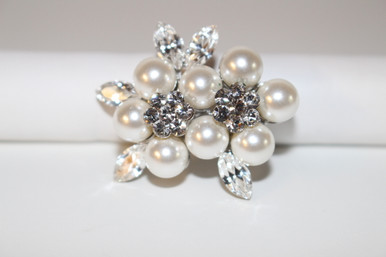 """Silver Brooch with Clear Crystals (1 1/2"""" diameter)"""