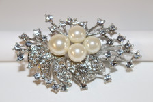 "Silver Brooch with Pearls (1 1/2"" long)"
