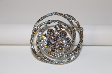 """Silver Brooch Clear Crystals (1 1/2"""" in diameter)"""