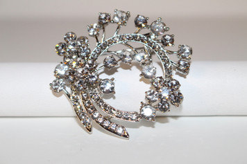 "Silver Brooch Clear Crystals (2"" in diameter)"
