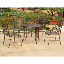 International Caravan Mandalay Wrought Iron 5 Piece Round Dining Set
