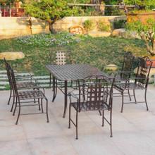 International Caravan Mandalay Wrought Iron 7 Piece Rectangular Dining Set