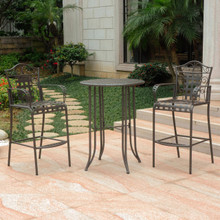 International Caravan Mandalay 3 Piece Iron Bar-Height Bistro Set