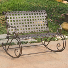 International Caravan Mandalay Lattice Iron Double Rocker Bench