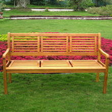 International Caravan Royal Tahiti Bar Harbor Yellow Balau Hardwood Three-Seater Park Bench