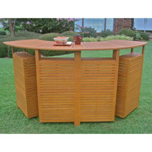 International Caravan Royal Tahiti Yellow Balau Wood Outdoor Folding Bar