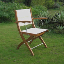 International Caravan Royal Tahiti Folding Armchair with Ivory Colored Textiline Seat and Back and Aluminum Accents (Set of 2)