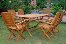 International Caravan Royal Tahiti Andorra Yellow Balau Wood Rectangular 7 Piece Outdoor Dining Set