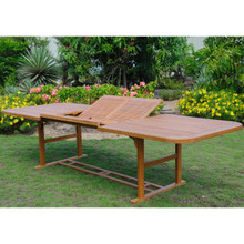 "International Caravan Royal Tahiti Yellow Balau Hardwood Outdoor Butterfly Leaf Rectangular 78"" - 118"" Extension Table"