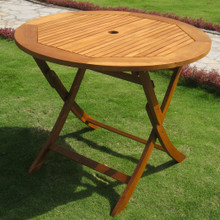 International Caravan Royal Tahiti Yellow Balau Wood 36-inch Round Folding Dining Table