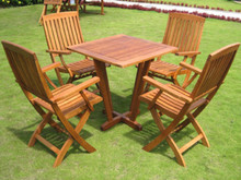 International Caravan Royal Tahiti Gibraltar Yellow Balau Hardwood 5-Piece Outdoor Bistro Set