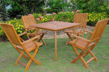 International Caravan Royal Tahiti Sabrosa Yellow Balau Hardwood Outdoor 5-Piece 36-inch Square Dining Set
