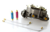 "1"" Bore Master Cylinder Starter Kit w/ 90 Degree 3/16"" Brake Lines and Residual Valves"