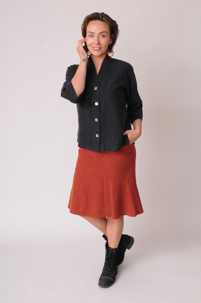 Black hemp - Tencel top and skirt
