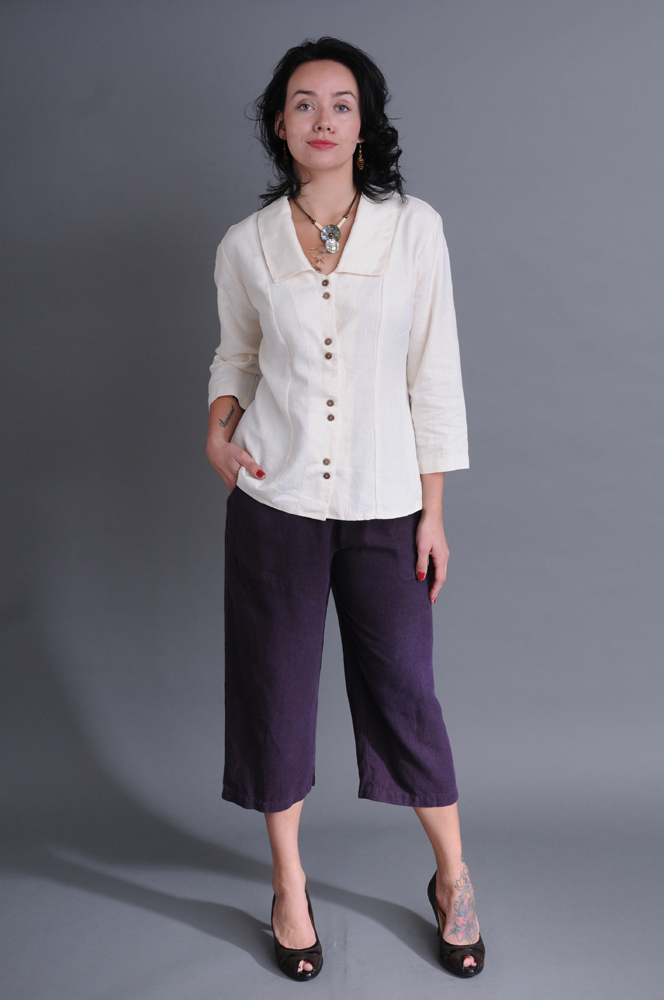 The classic lines of Cropped Pants in Plum work attractively beneath a Princess Top in undyed Natural.