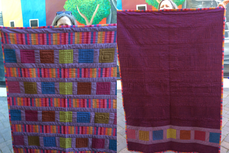 Front and Back of Rhonda's Quilt Made from Scraps