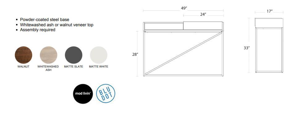 Blu Dot Swish Console Desk Mod Livin New And Vintage