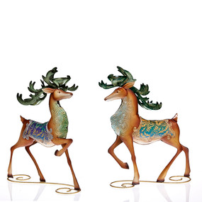 Peacock Reindeer Tealight Holders (set of 2)