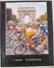 Lance Armstrong Tour De France Cycling 10.5x13 Plaque