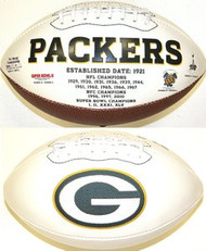 Green Bay Packers Rawlings Jarden Sports Signature NFL Full Size Fotoball Football Current Version - BLOWN UP with BOX & PEN