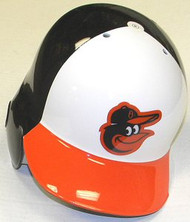 Baltimore Orioles Home White/Black/Orange Bird Head Logo Rawlings Full Size Authentic Left Handed MLB Batting Helmet - Right Flap Regular