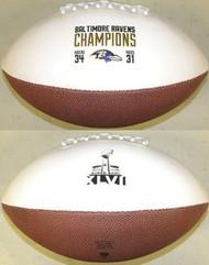Baltimore Ravens Super Bowl 47 XLVII Champions Jarden Sports NFL Full Size Football (2 White & 2 Brown Panels)