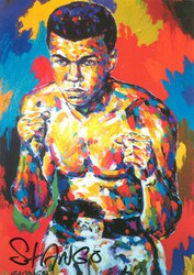 John Stango Autographed 6x8.5 Muhammad Ali Boxing Legend Postcard of his Original Abstract Art Acrylic on Canvas Painting
