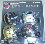 NFC South Division NFL Riddell Pocket Pro Revolution Helmet 4-Pack Set Atlanta Falcons, Carolina Panthers, New Orleans Saints & Tampa Bay Buccaneers